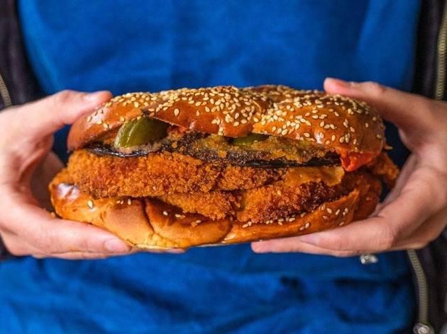 Mini challah schnitzel sandwich.