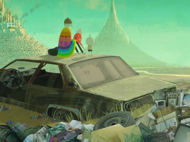 An illustration of a man and a child sitting on top of a rusty car in a garbage tip