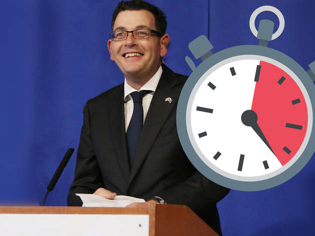 Dan Andrews with a clock