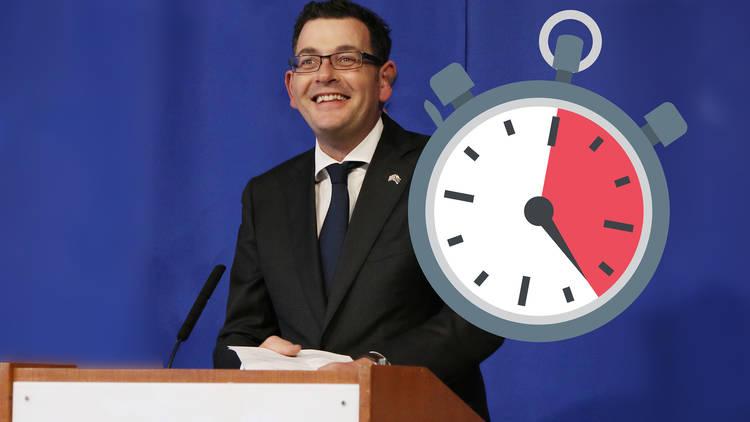 Dan Andrews with a clock