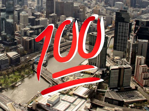 Melbourne city from above with a 100 emoji over it