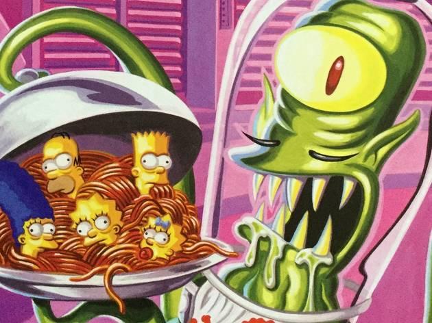 Ilustración de Los Simpson con ellos dentro de un plato de spaguetti