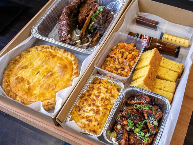 Pie, ribs, cornbread.