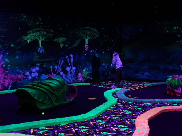 out of this world blacklight mini golf