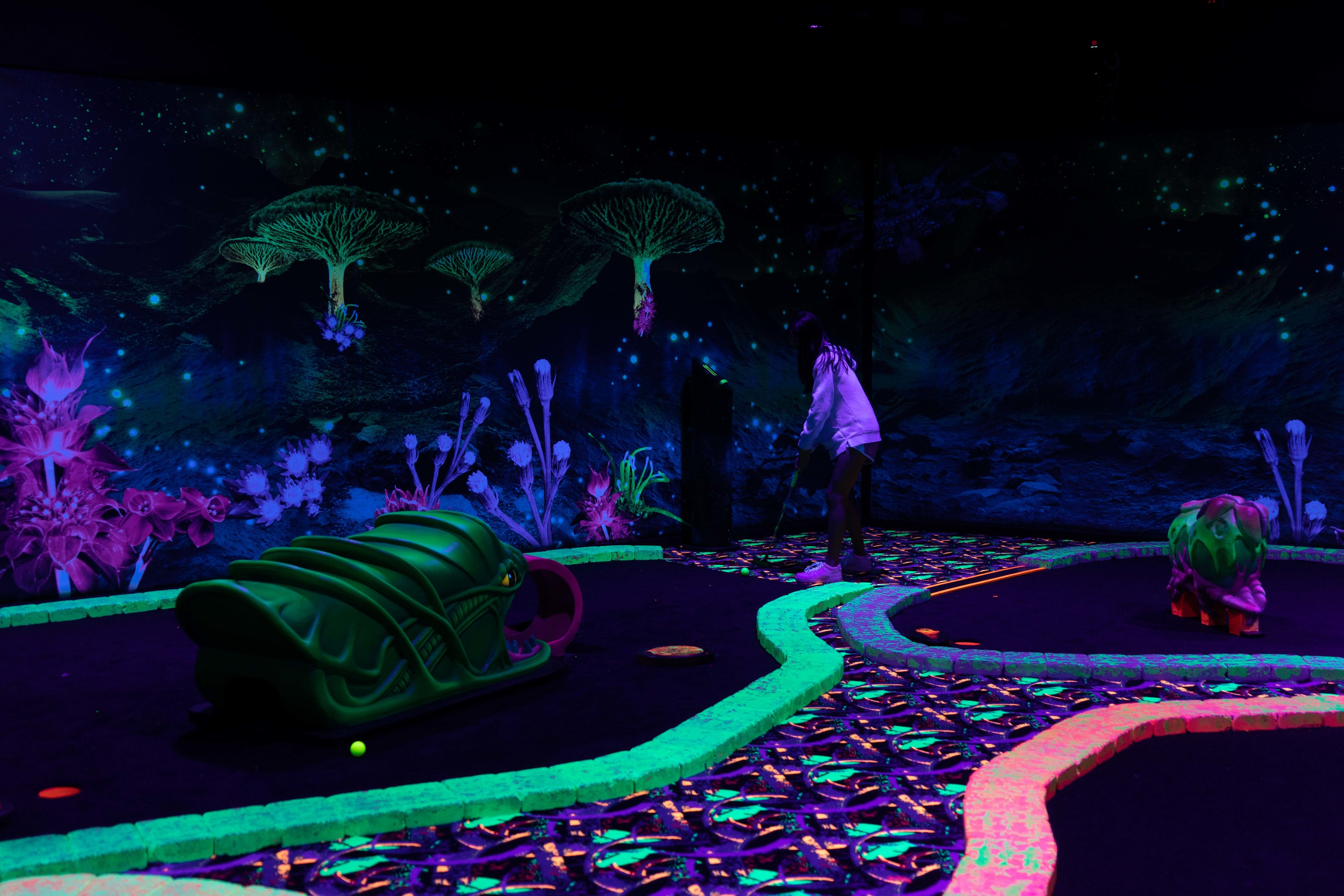 This blacklight mini golf course is out of this world