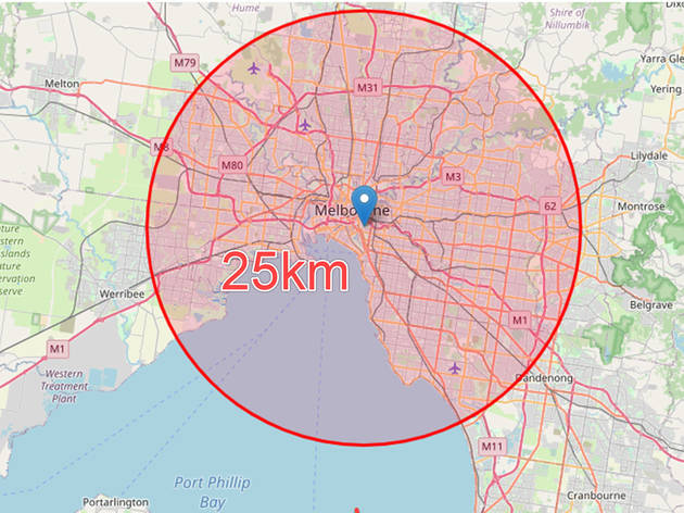 This website will show you exactly how far 25km is from your home