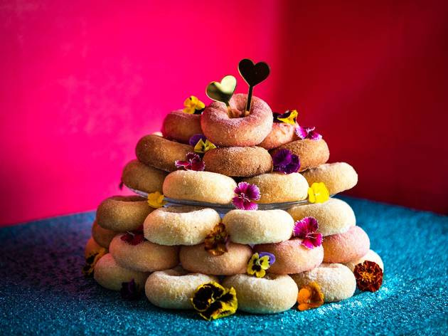 A stack of doughnuts