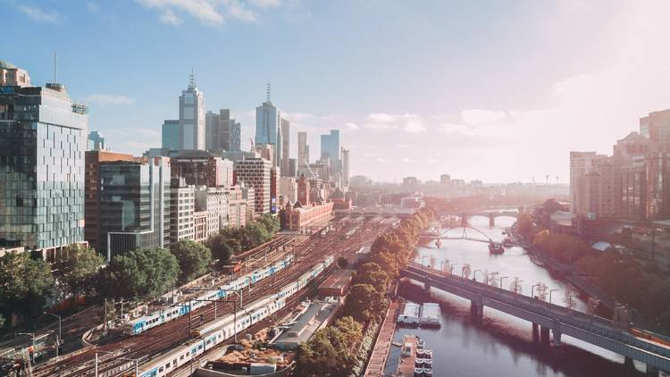 Melbourne skyline over Flinders Street