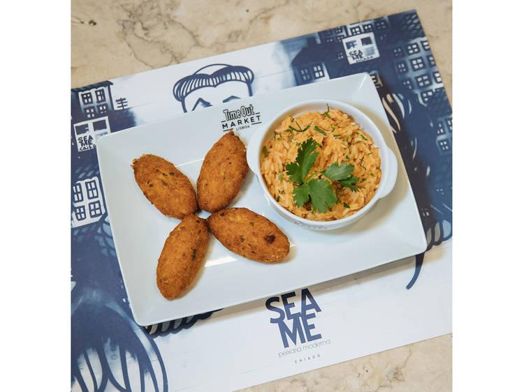 Pastéis de bacalhau com arroz de tomate do Sea Me