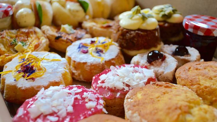 Selection of sweet treats in the high tea box
