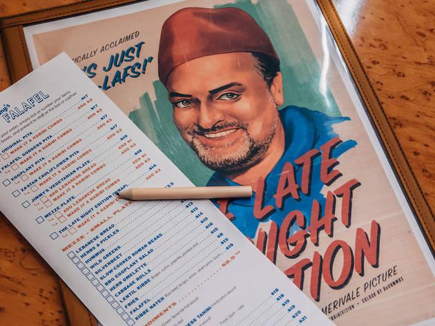 Jimmy's falafel menu (Photograph: Nikki To)