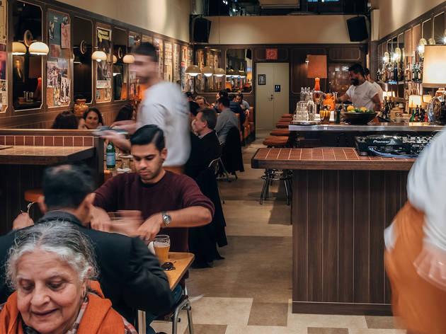 Jimmy's falafel customers (Photograph: Nikki To)