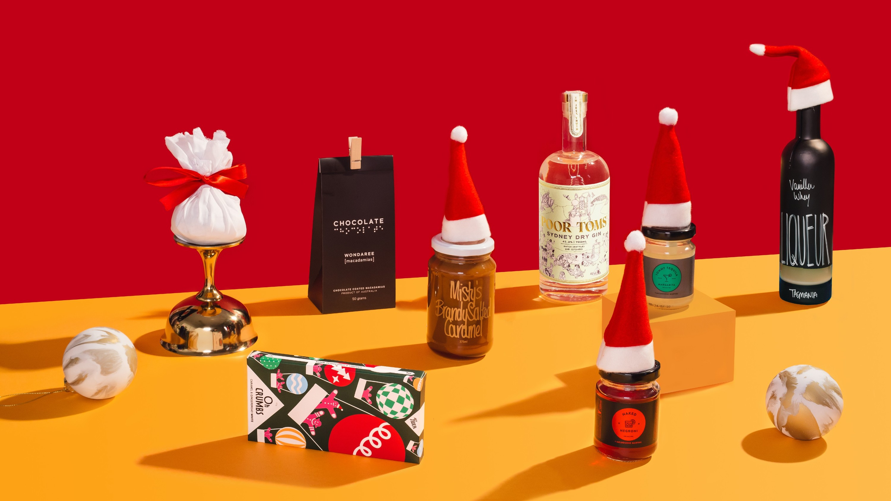 Products wearing Xmas hats