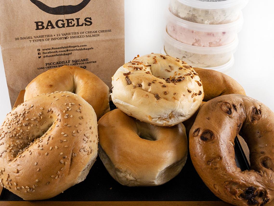 Rosenfeld's Bagels, assortment of bagels, cream cheese