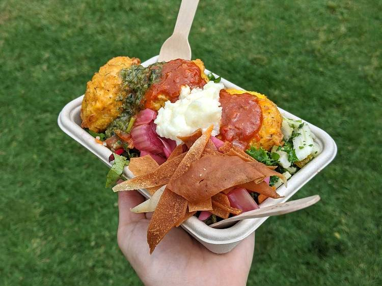 Israeli salad and corn fritters at Northside Produce Market