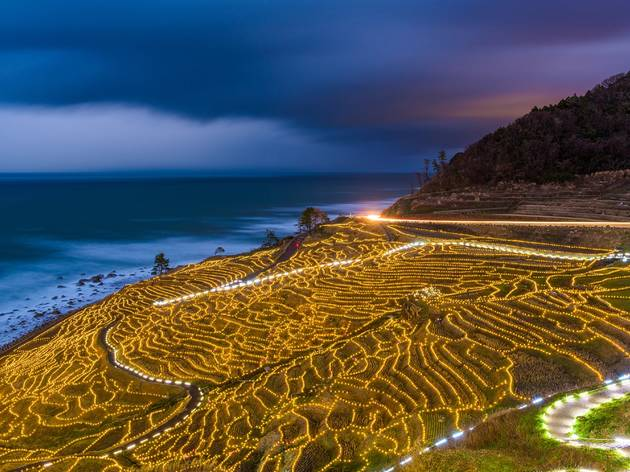 The seaside rice terraces in Wajima are now illuminated with 25,000 LED lights after dark