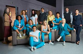 The cast of Wentworth on set in a prison setting