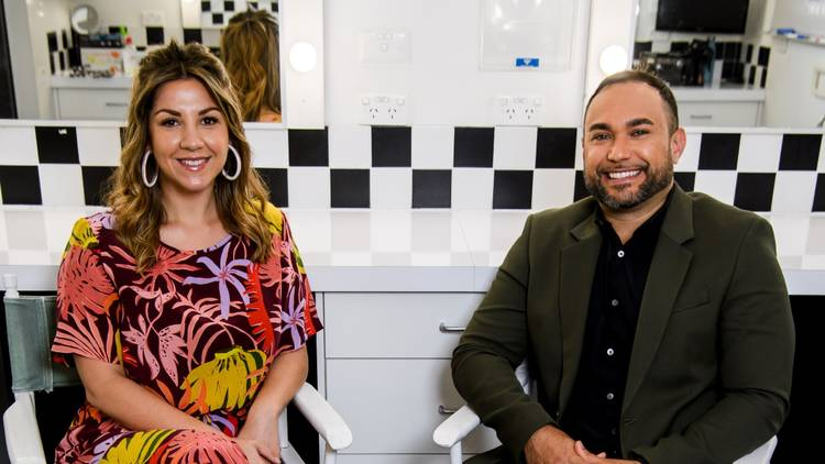 Ryan Liddle and Shahni Wellington of Big Mob Brekky sit in the dressing room