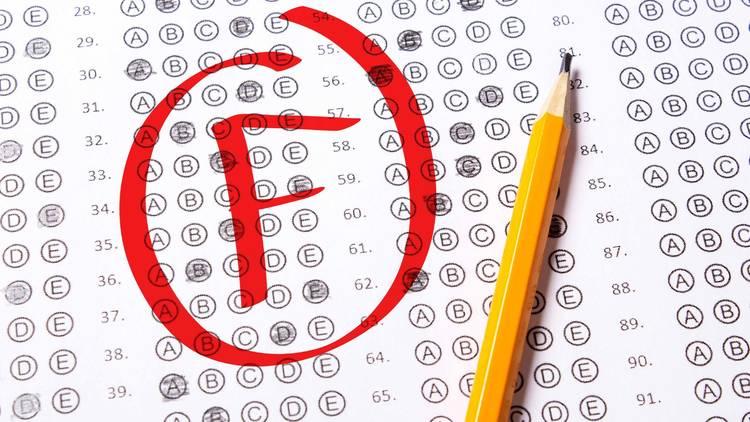 F grade letter grade scantron test