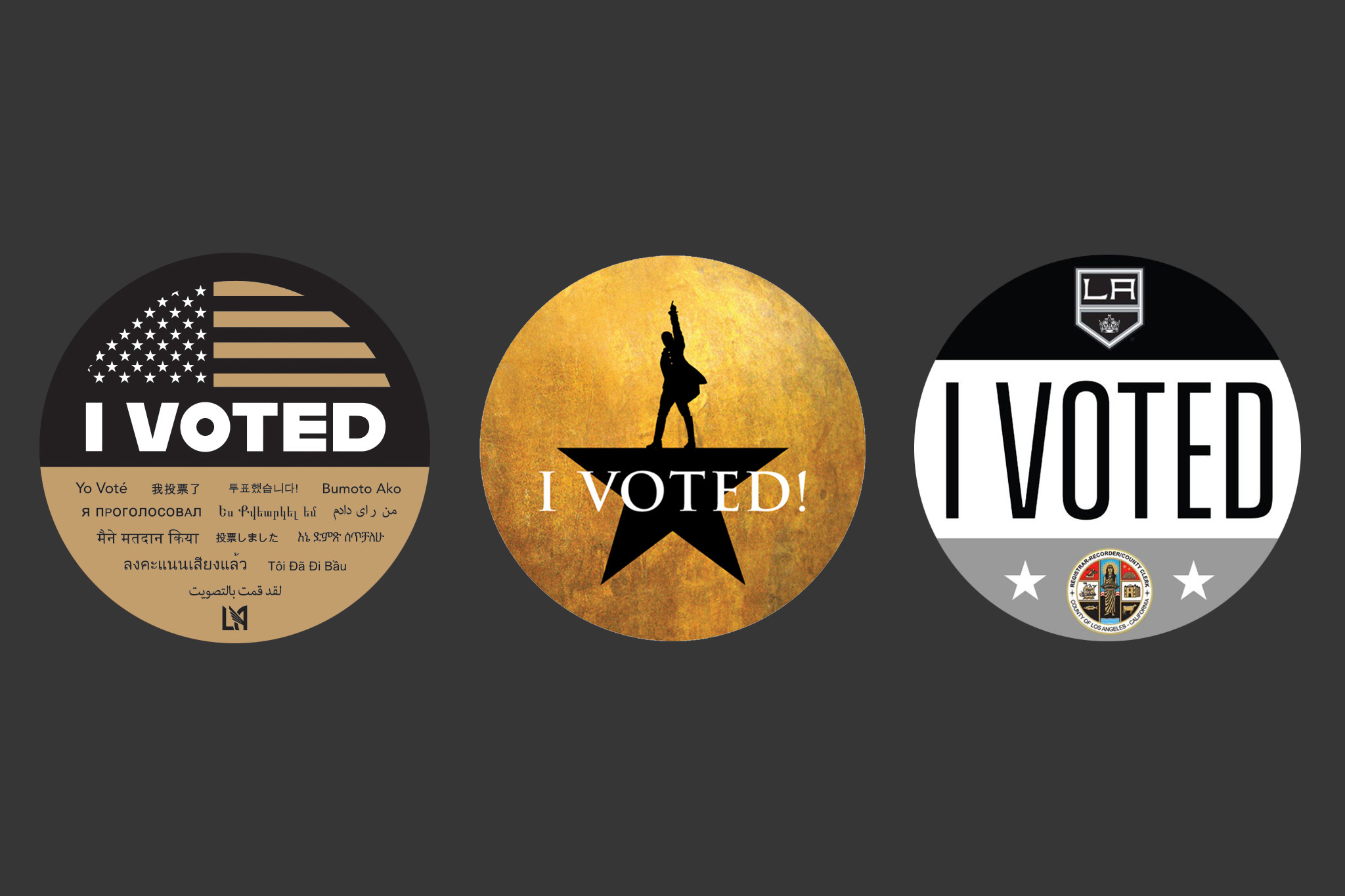 """Want a 'Hamilton' or LAFC """"I Voted"""" sticker? You can grab one at these L.A. voting centers."""