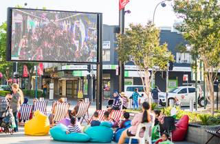 Outdoor cinema in Macquarie Mall in Liverpool