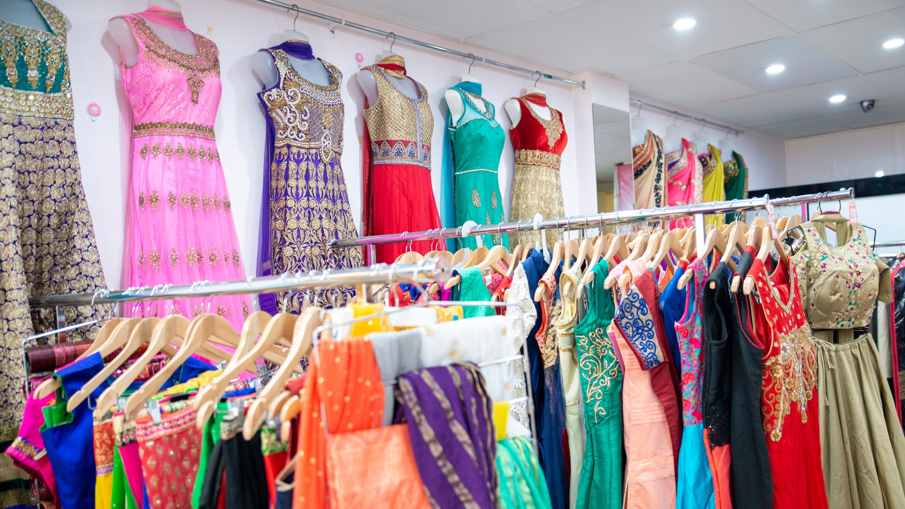 COLourful Indian clothes on racks