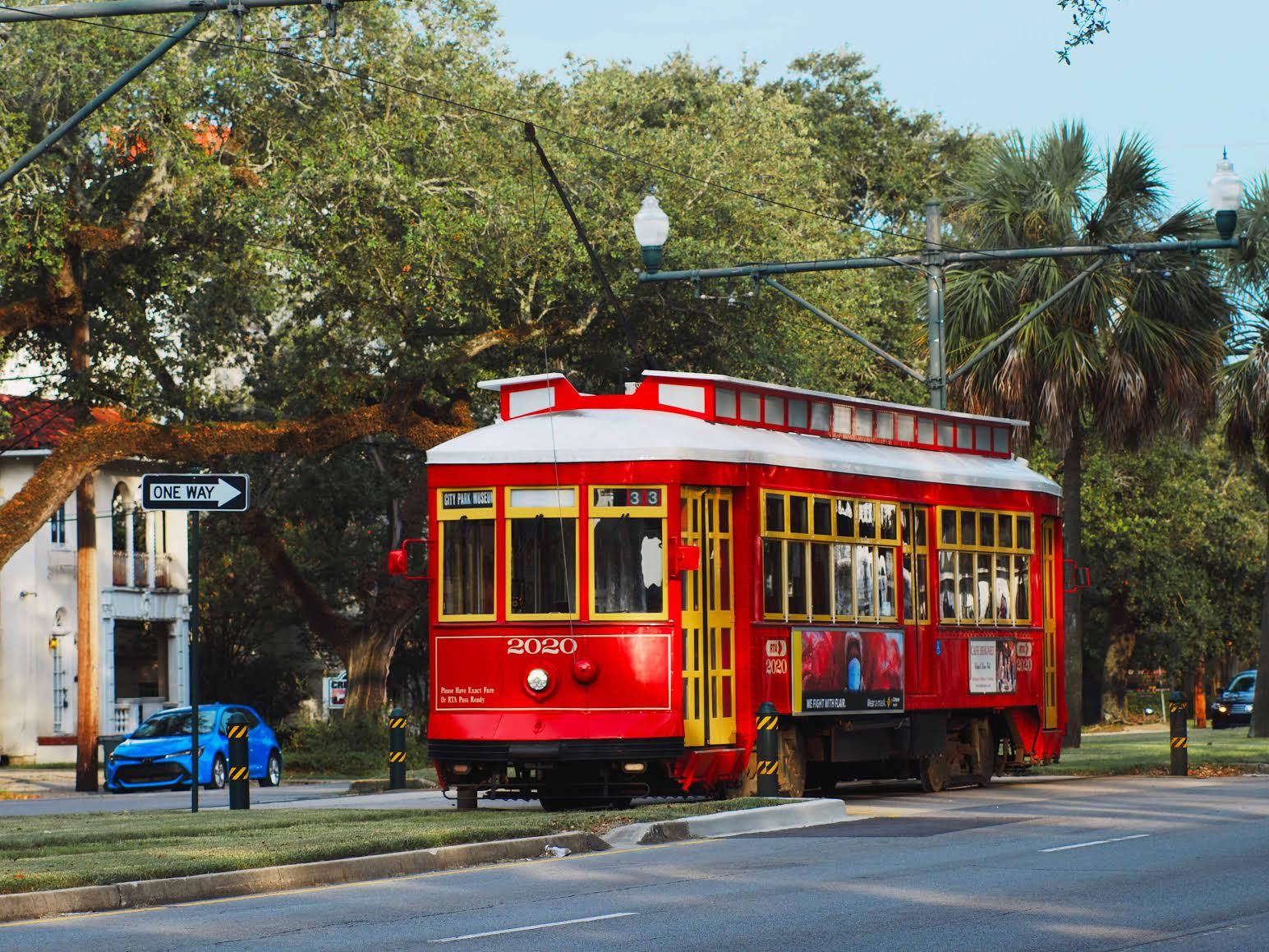 Mid-City, New Orleans, red streetcar