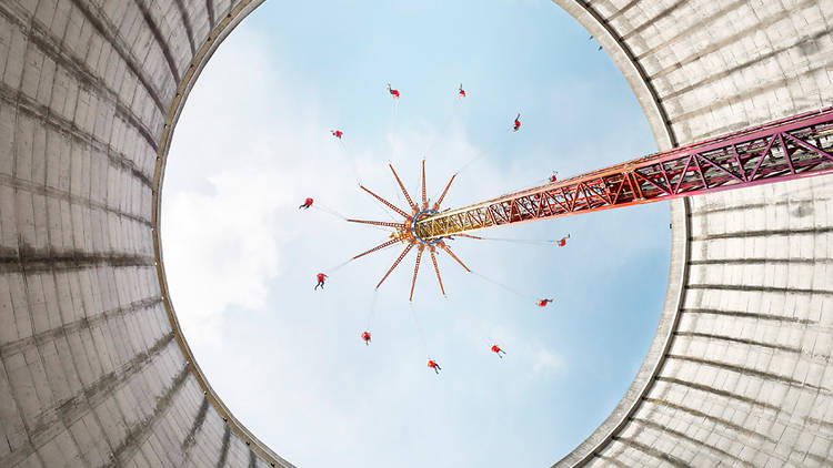 Photograph: © Luca Locatelli/A nuclear reactor at Kalkar was finished just before the 1986 explosion at Chernobyl, Ukraine—and never used. It's now an amusement park with a ride in what would have been the cooling tower. Fear of nuclear power spurred Germ