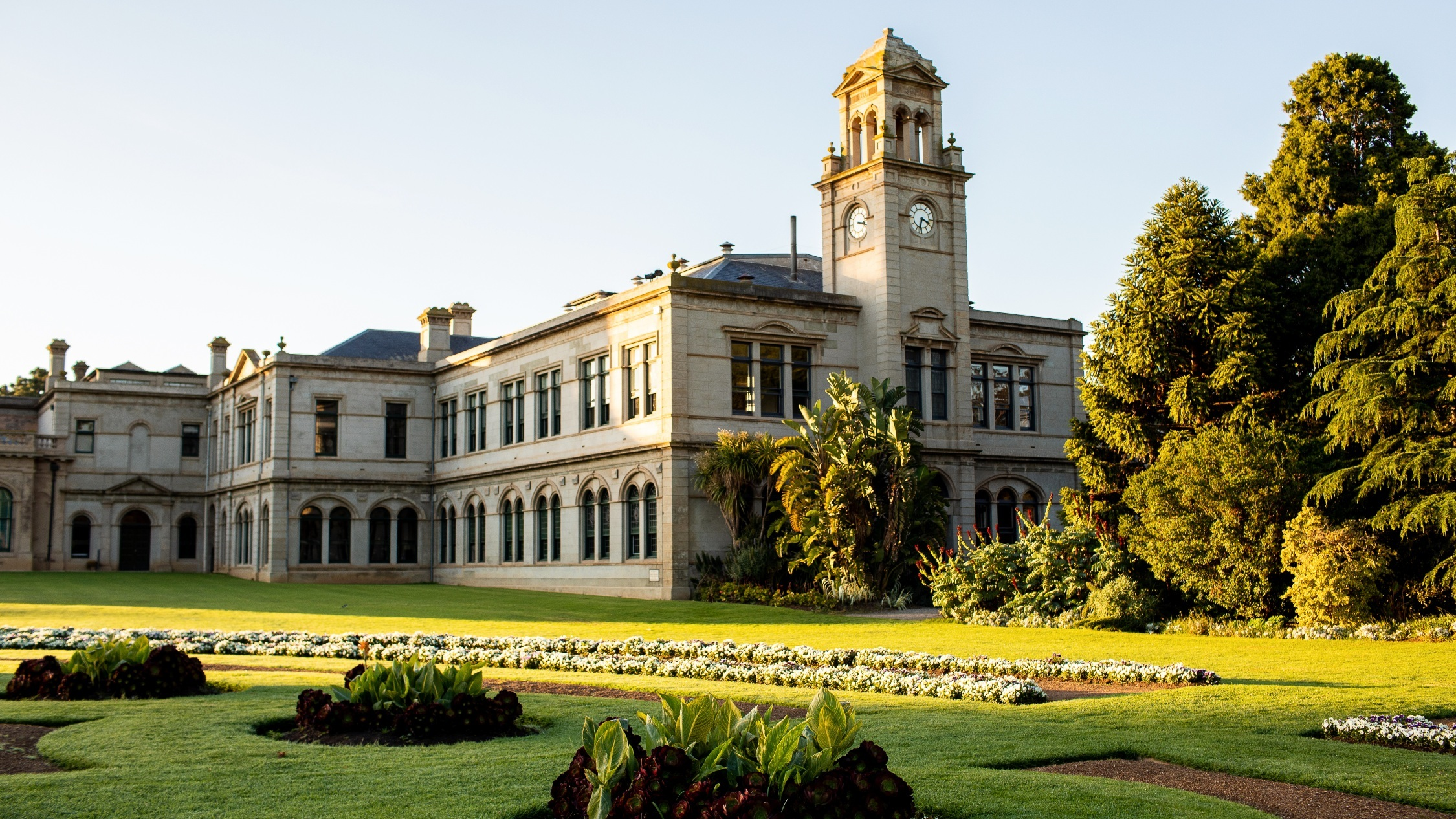 Werribee Mansion and its grounds bathed in morning light
