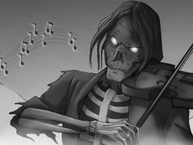 Ilustración en blanco y negro de una calavera con cabello largo y tocando el violín