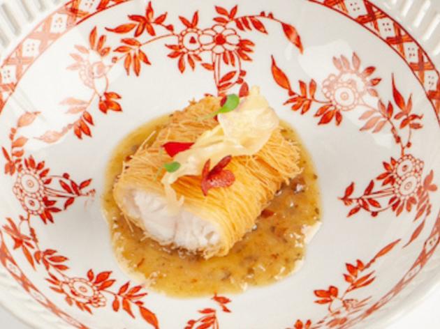 Tate Dining Room kadaifi wrapped snapper with kumquat
