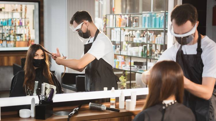 hairdressers with face mask