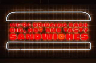 Harvey's hot sandwiches neon sign