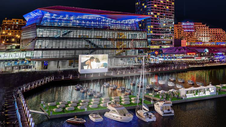 Boat lined up in the harbour for floating cinema