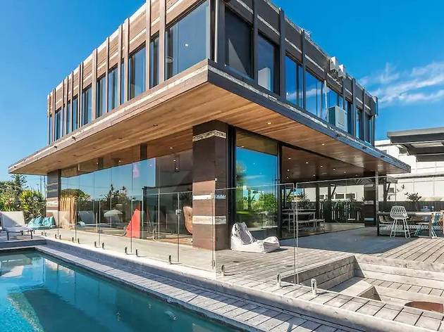 Timber house with pool