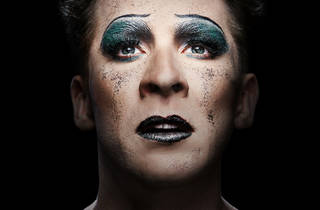 Hugh Sheridan wears heavy makeup and glitter as Hedwig in 'Hedwig and the Angry Inch'.