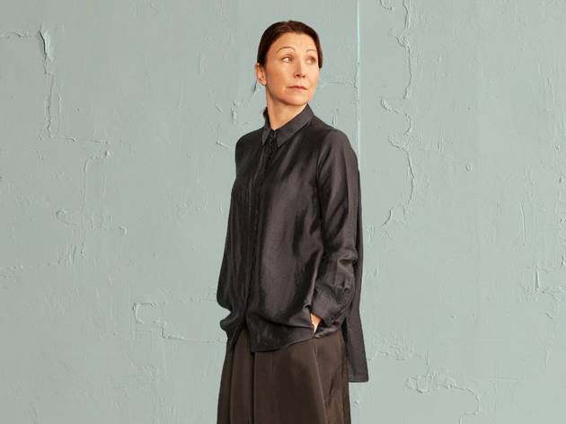Anita Hegh in dark smocks in Belvoir's A Room of One's Own