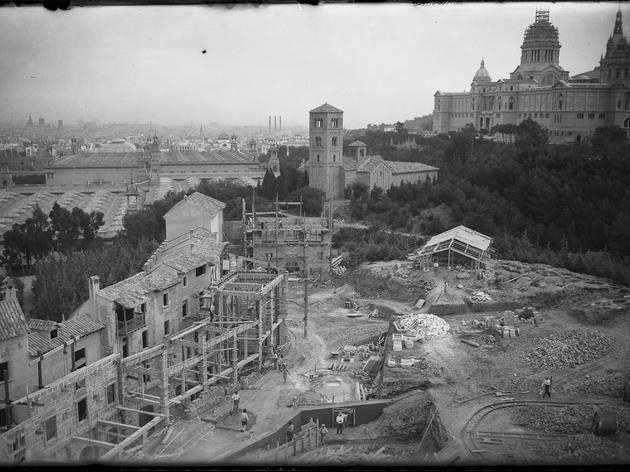 Vista general del Poble Espanyol el 1928