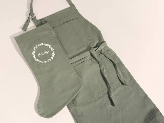 An apron and a Christmas stocking