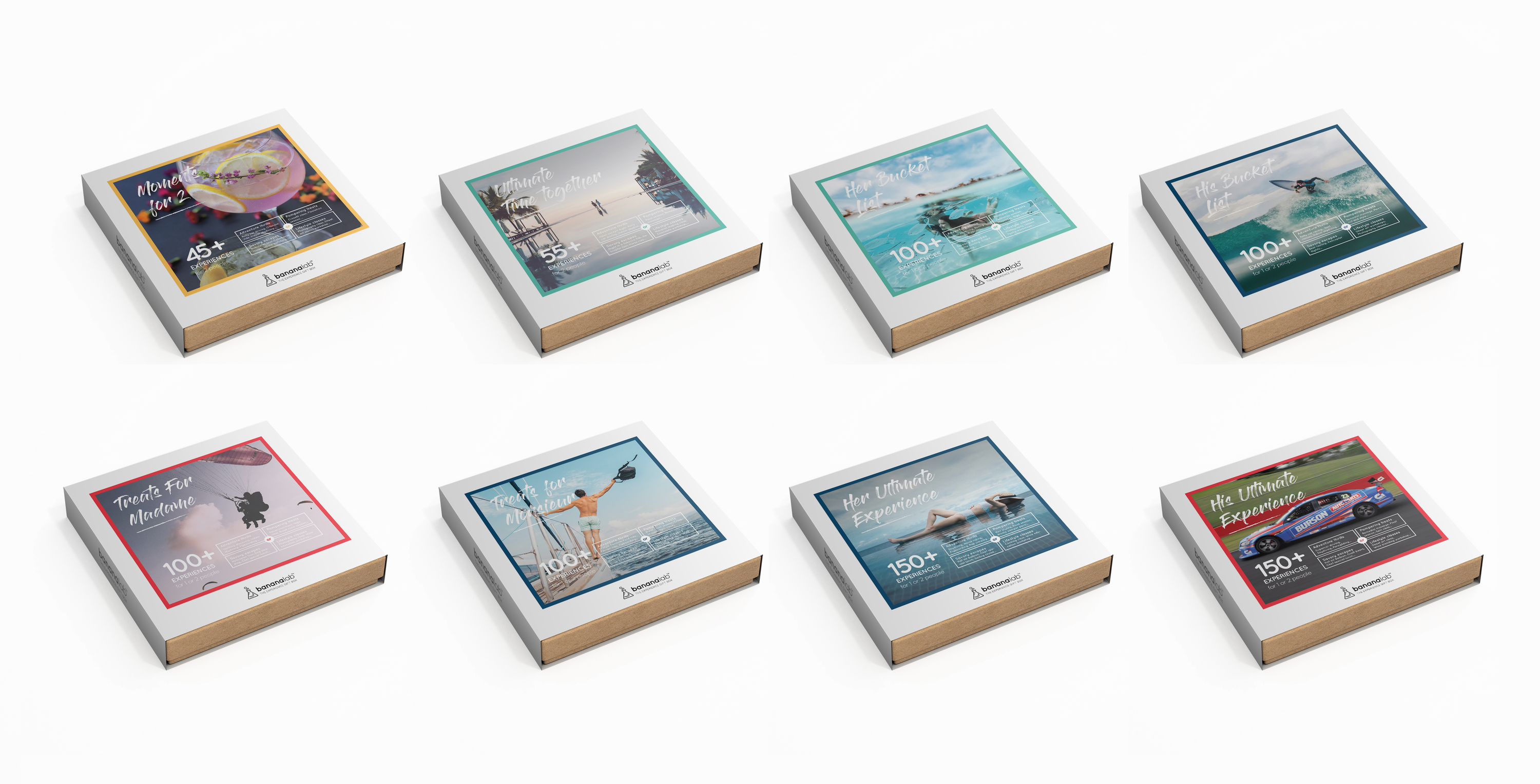 Eight BananaLab boxes showing different categories of experiences