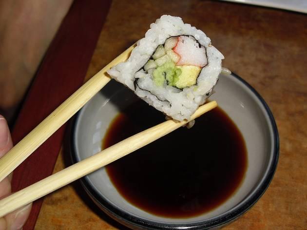 chopsticks, sushi