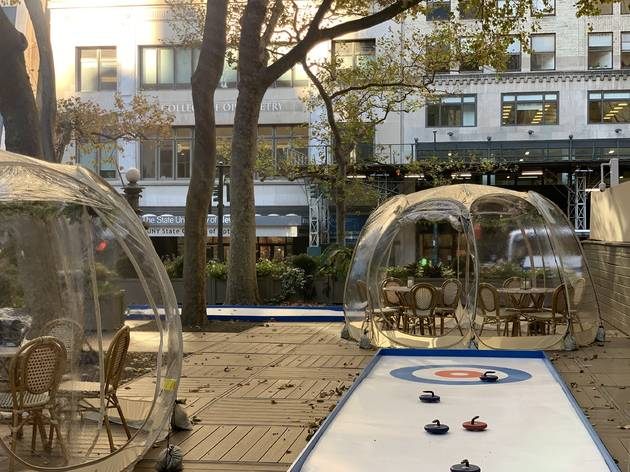 Bryant Park Winter Village iceless curling