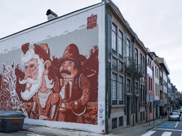Mural Dom Quixote e Sancho Pança