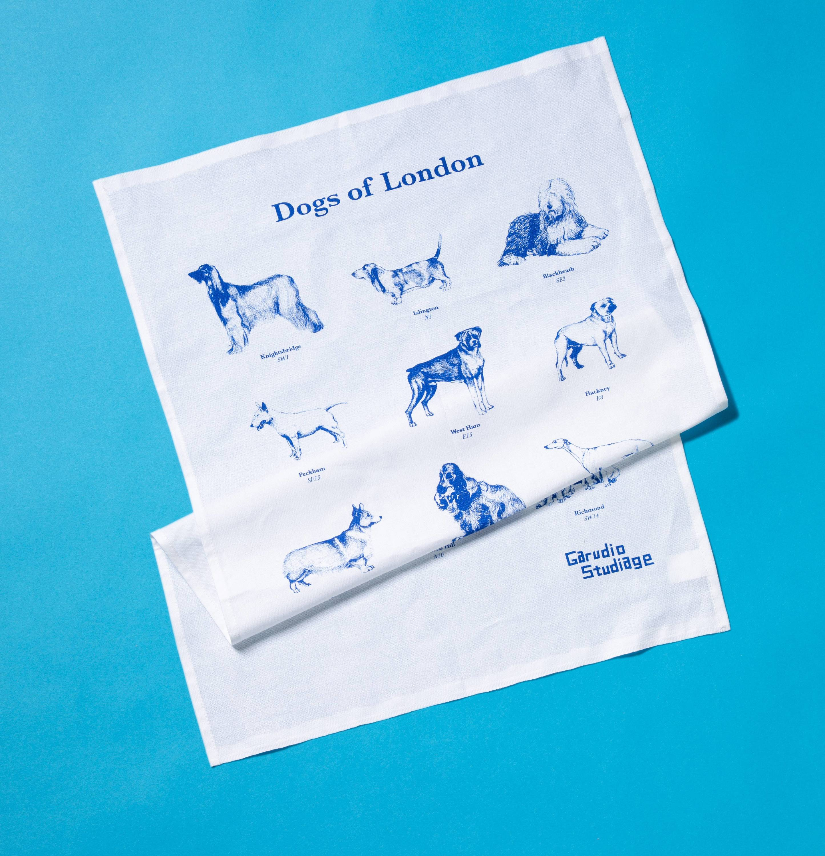dogs of london tea towel