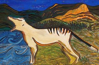 A gorgeosus illustration of a Tasmanian Tiger by a lake with mountains in the background