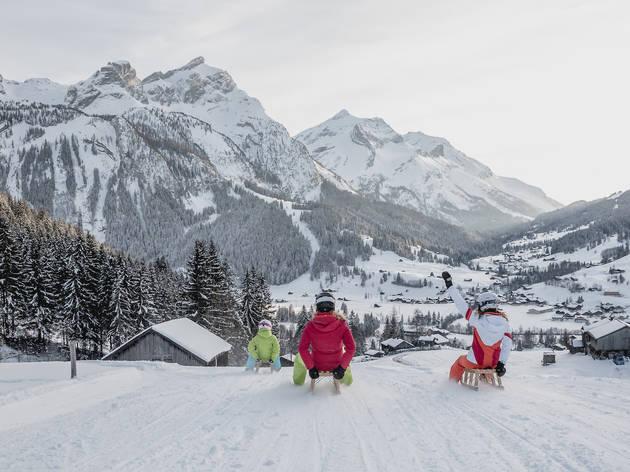 Tobogganing in Gstaad