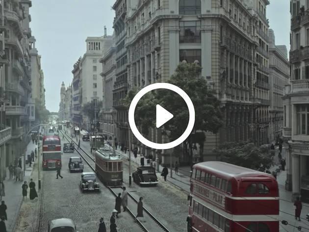 Recreació nde Via Laietana por el anuncio de la Loteria de Navidad