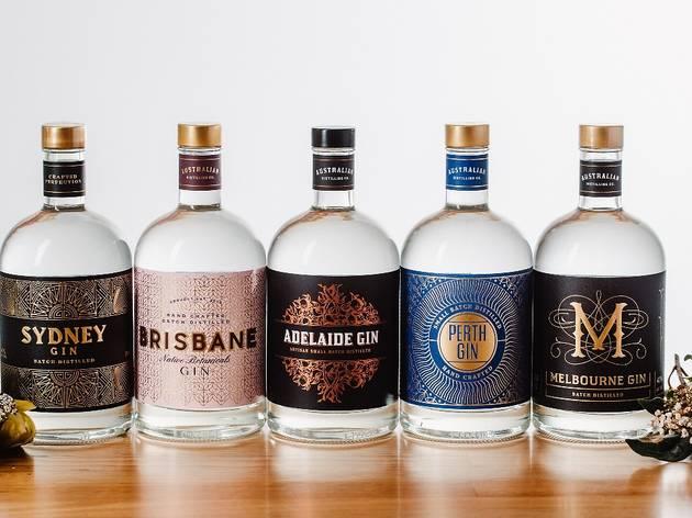 Five Australian Distilling Co gin bottles