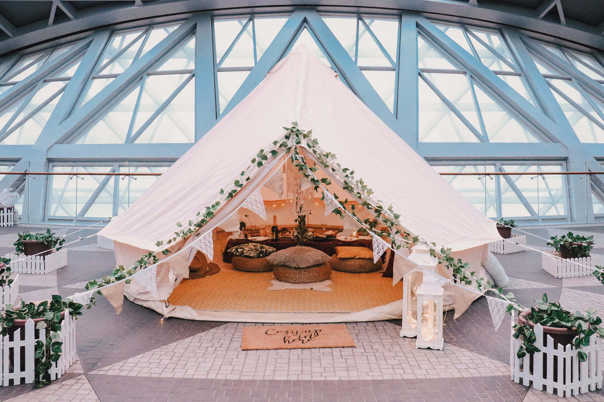 You can now go glamping at Jewel and spend the night at the airport