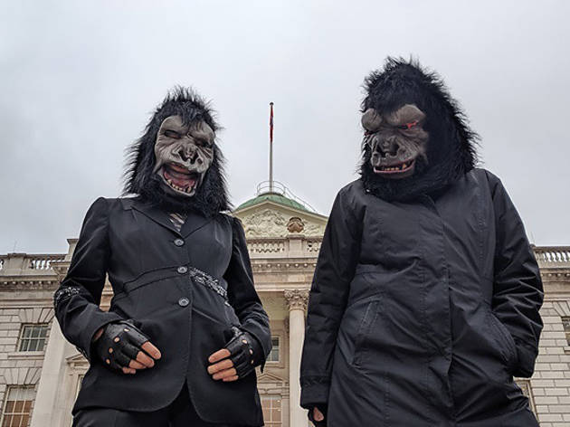 Guerrilla Girls on a site visit at Somerset House, London in January 2020 for Art Night. Photo by Cathy Buckmaster, courtesy of the artists and Art Night London.